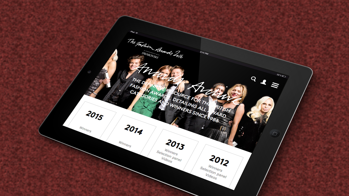 The Fashion Award web page